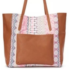 💖 Sonoma Large NWT Pink & Brown HILLARY Tote 💖